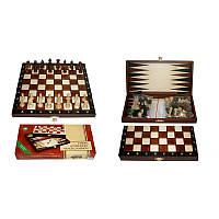 Шахматы туристические + Шашки + Нарды коричневые 27х14х4см (король-55мм)