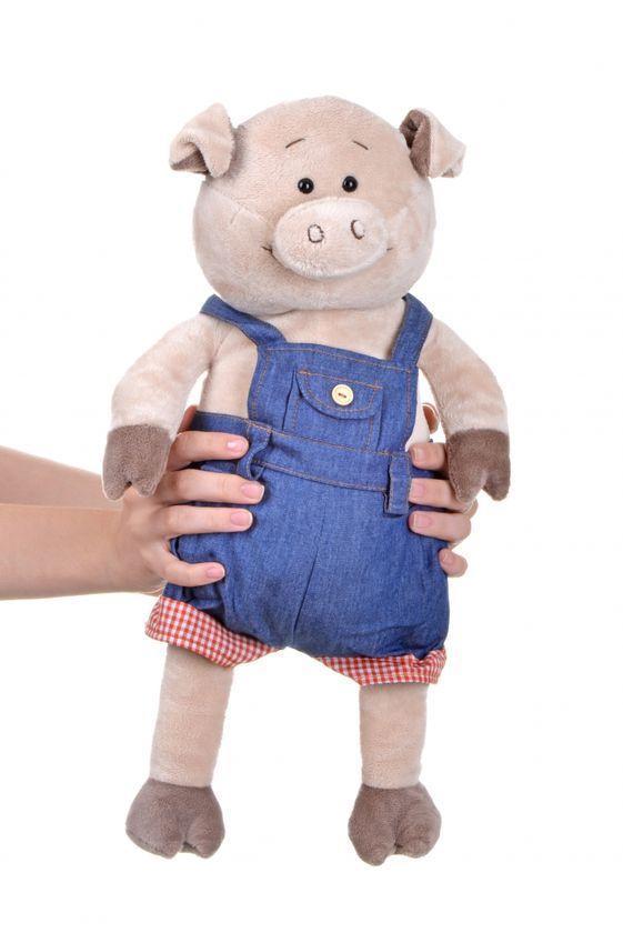 """Мягкая игрушка Same Toy """"Свинка в джинсовом комбинезоне"""" 45 см"""