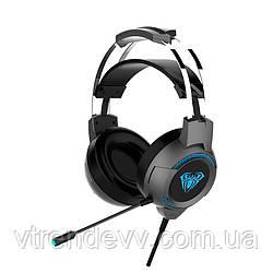 Наушники игровые с микрофоном Aula G91 Gaming Headset Original с RGB подсветкой Черные