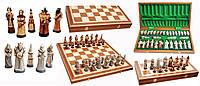 Шахматы  FANTAZY Intarsia камень коричневые 56x28,5x7см (король-110мм)