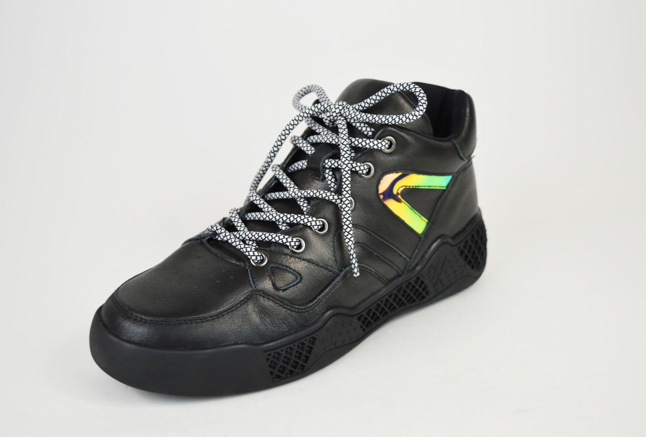 Кроссовки черные кожа на платформе 99291