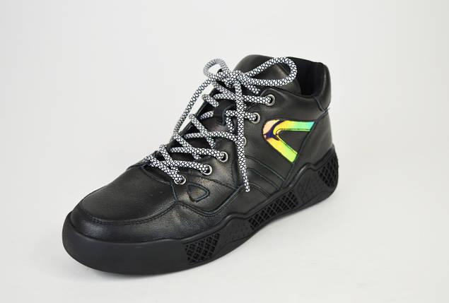 Кроссовки черные кожа на платформе 99291, фото 2