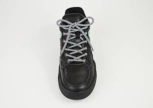 Кроссовки черные кожа на платформе 99291, фото 3