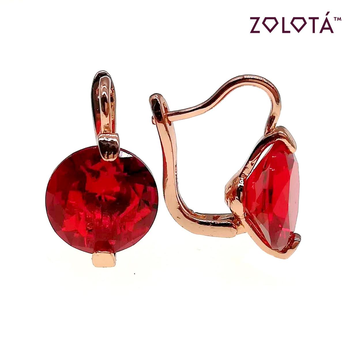 Серьги Zolota с красными фианитами (куб. цирконием), из медицинского золота, в позолоте, ЗЛ00628 (1)
