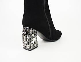 Сапоги замшевые стрейч на каблуке с камнями 0221, фото 3