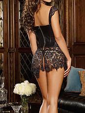 Латексный сексуальный корсет с кружевом. Латексное платье с корсетом. Эротическое латексное белье., фото 2