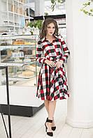 """Трикотажное платье-рубашка в клетку """"Sabina"""" с длинным рукавом и поясом (3 цвета)"""