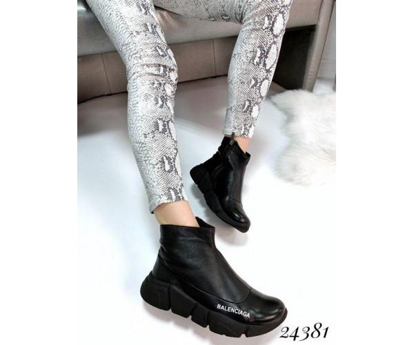 Ботинки Balenciaga из натуральной кожи, черные
