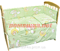 Набор в детскую кроватку из 6 предметов: постель, мягкие бортики, большое одело 140х100,подушка,100% хлопок Зеленый