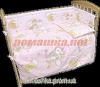 Набор в детскую кроватку из 6 предметов: постель, мягкие бортики, большое одело 140х100,подушка,100% хлопок Розовый