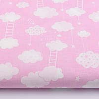 "Ткань хлопковая розового цвета ""Облака с лесенками"" (№ 60а)"