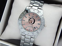 Жіночі кварцові наручні годинники Pandora (Пандора) срібло з рожевим циферблатом, фото 1