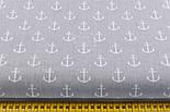 Ткань с якорями на светло-сером фоне (№173а), фото 2