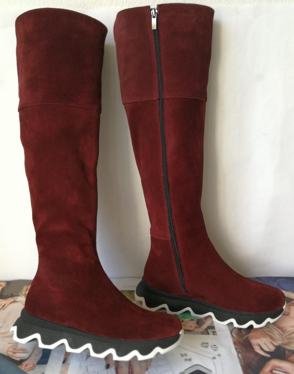 Осенние женские замшевые шикарные ботфорты Mante crazy цвет марсала! Сапоги на змейке деми на еобычной подошве