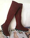 Осенние женские замшевые шикарные ботфорты Mante crazy цвет марсала! Сапоги на змейке деми на еобычной подошве, фото 4
