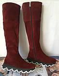 Осенние женские замшевые шикарные ботфорты Mante crazy цвет марсала! Сапоги на змейке деми на еобычной подошве, фото 5