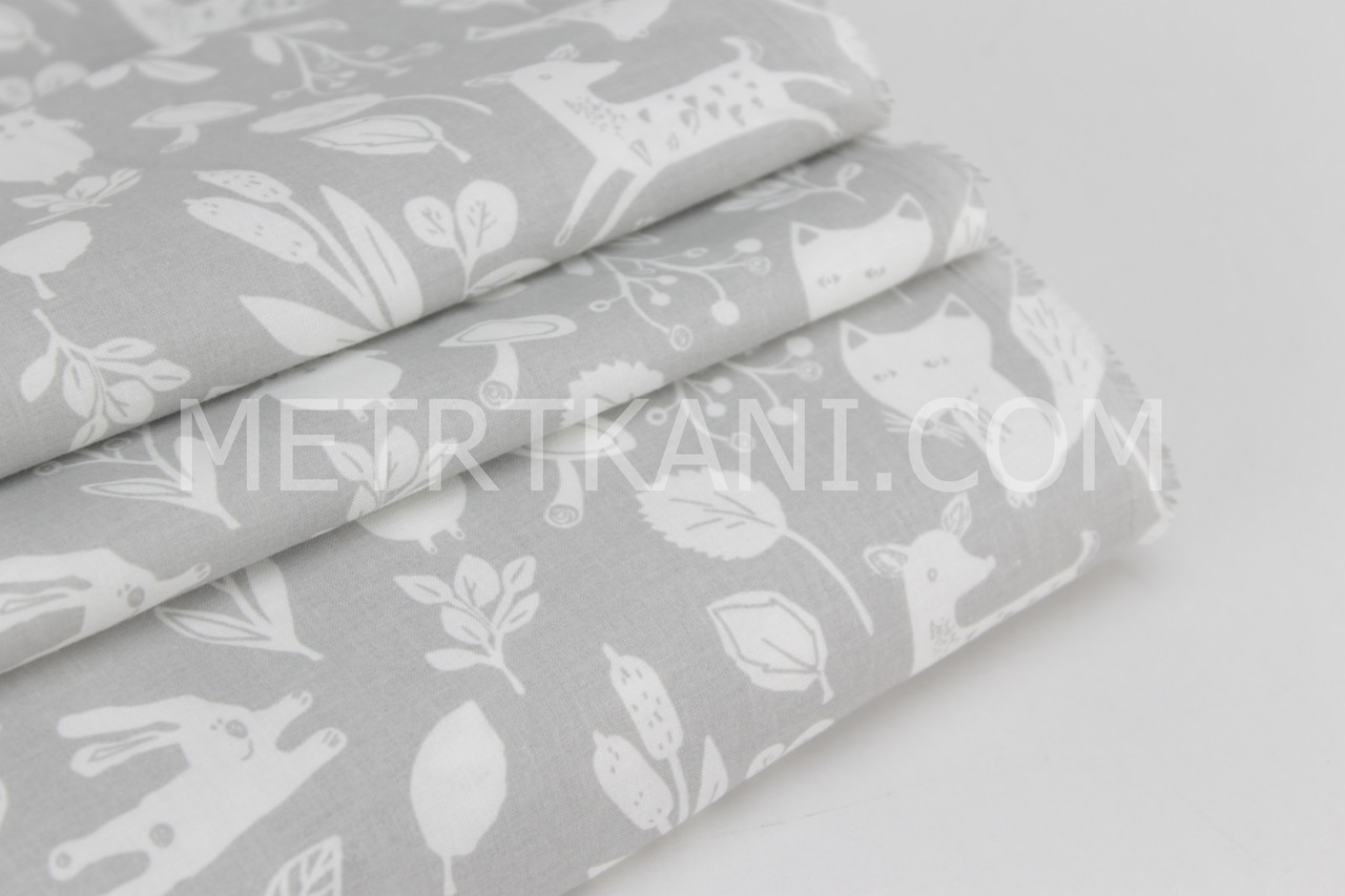 Хлопковая ткань премиум класса лесные зверята на сером фоне №4-663