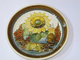 Тарелка декоративная подсолнух лепка Украина 20 см