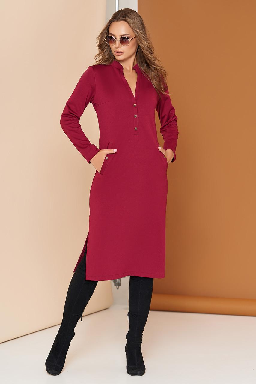 Трикотажное платье на кнопках 44-54р бордо