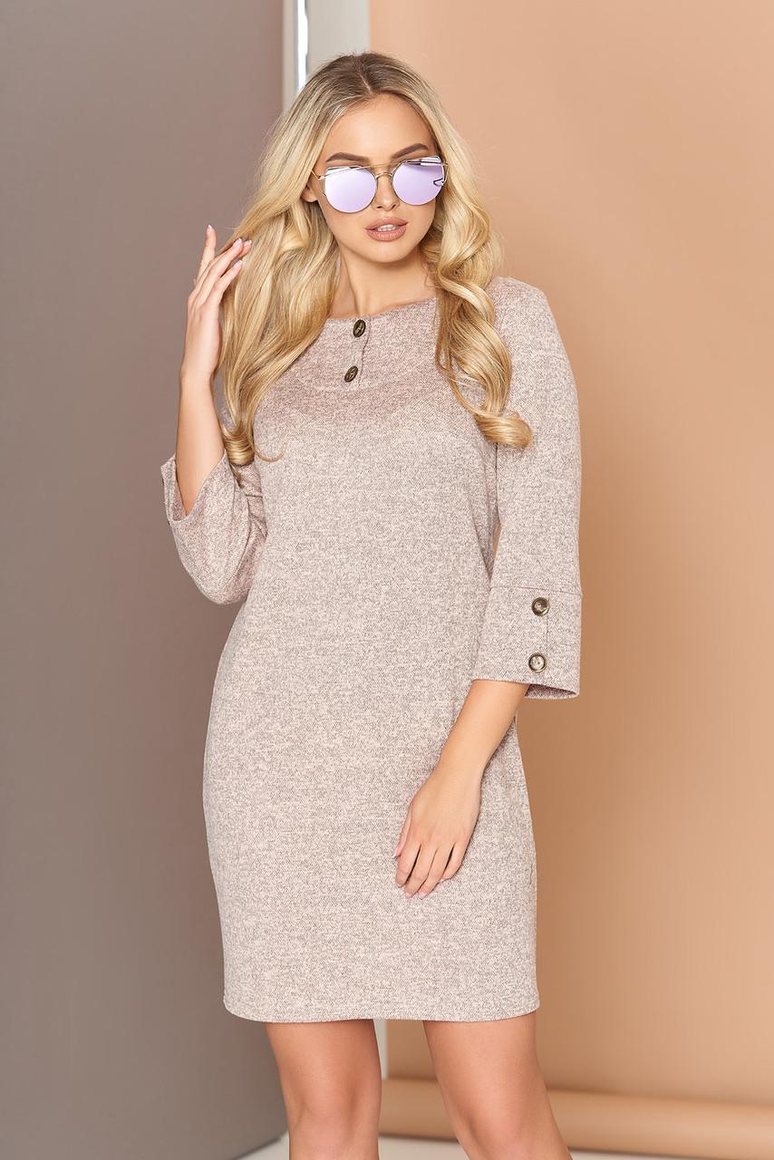 Платье трикотажное с кокеткой 44-50р бежевое