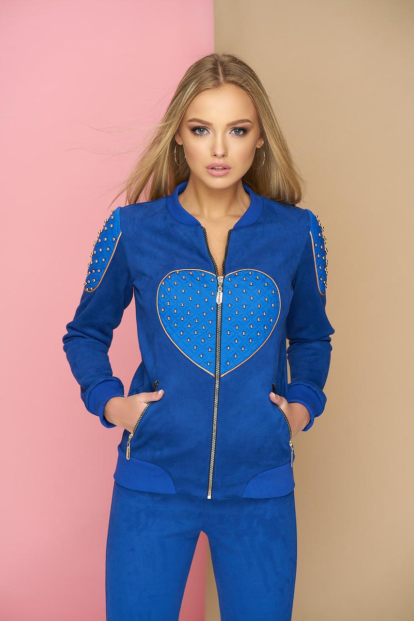 Бомбер с сердцем эко-замшевый синий