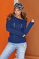 Вязаный свитер полуприталенный в расцветках
