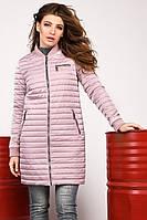 Удлиненная женская демисезонная куртка пудра