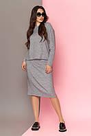 Юбочный костюм женский из шерсти серый