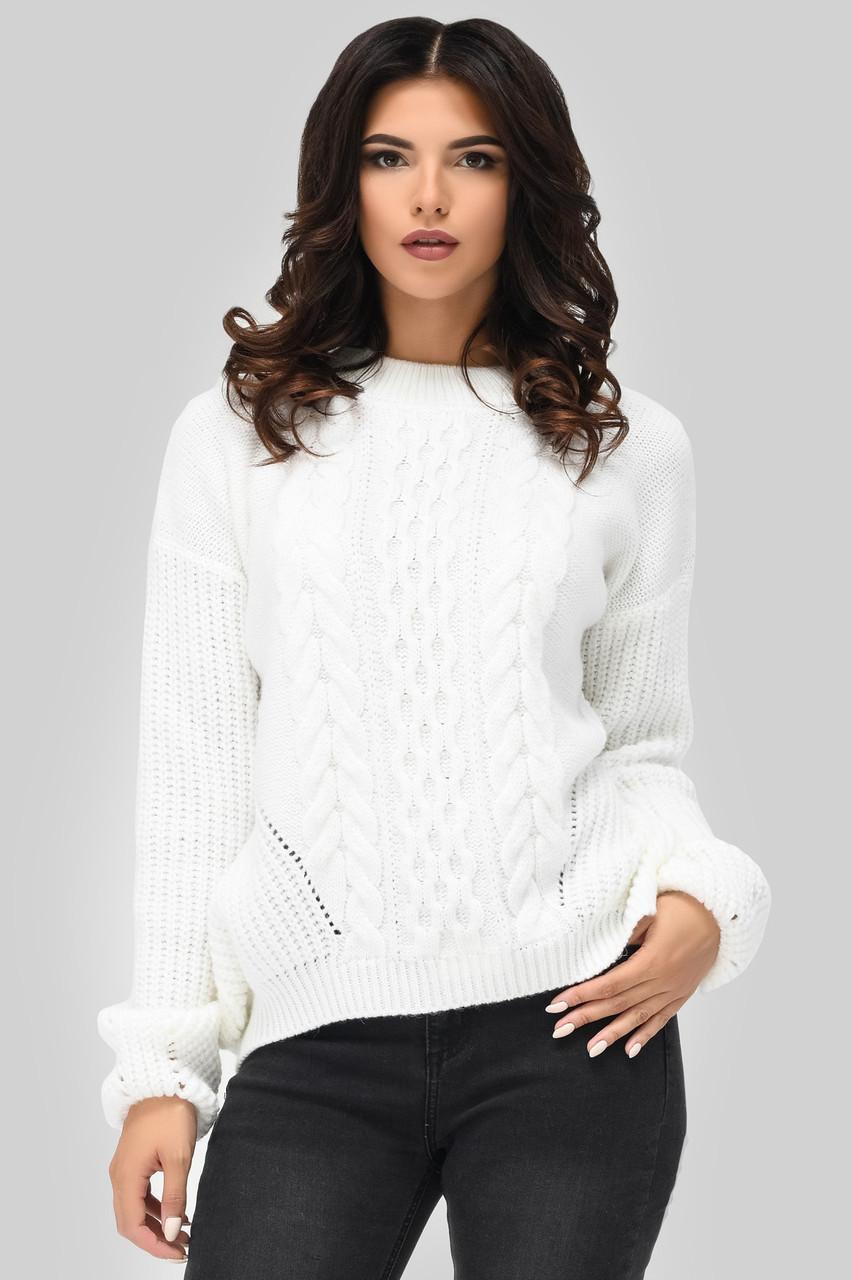 Вязаный свитер с узорами белый