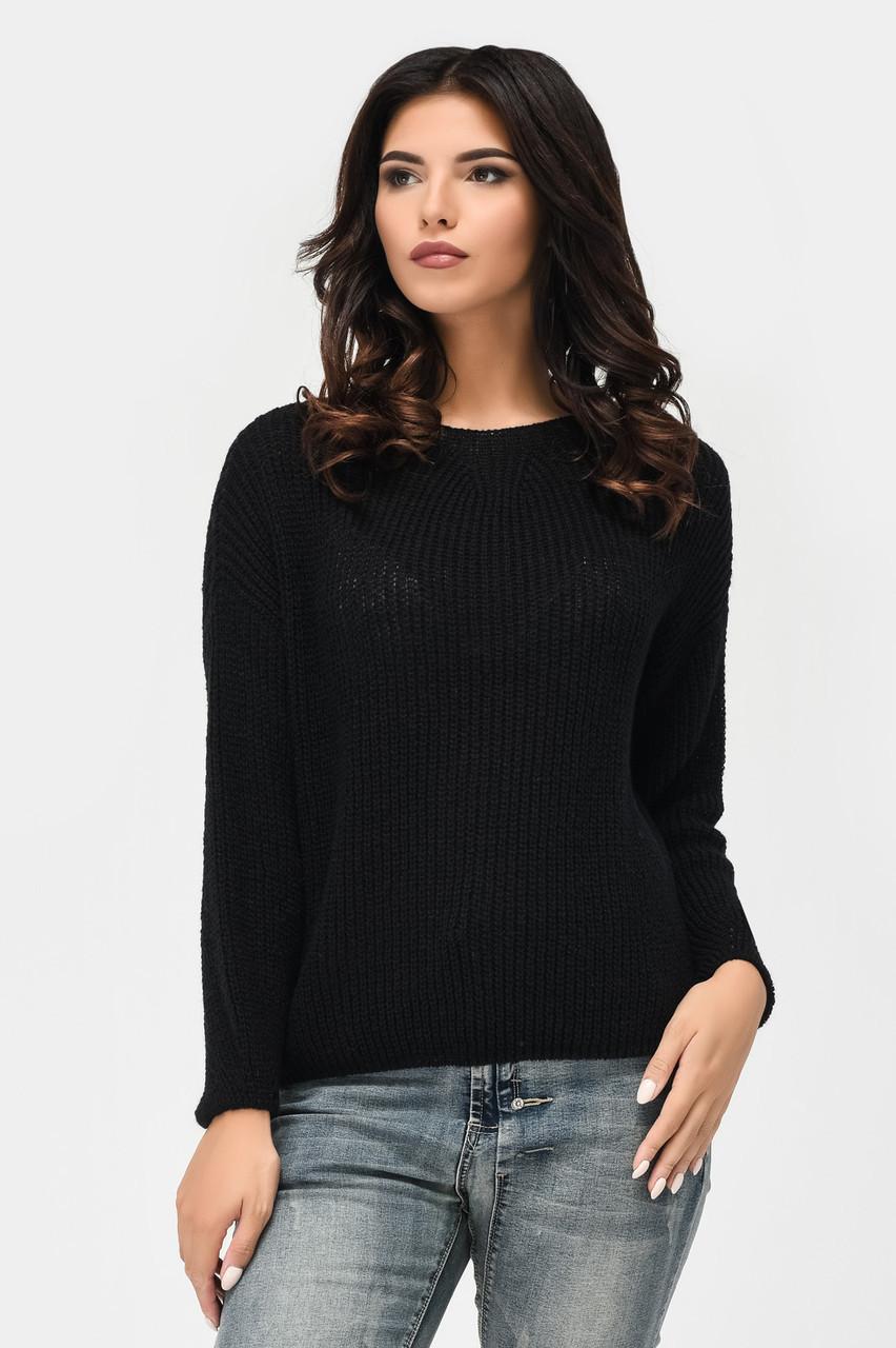 Женский вязаный свитер черный