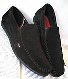 Style! Tommy Hilfiger! Мужские в стиле Томми Хилфигер черные замшевые туфли с пряжкой, фото 3