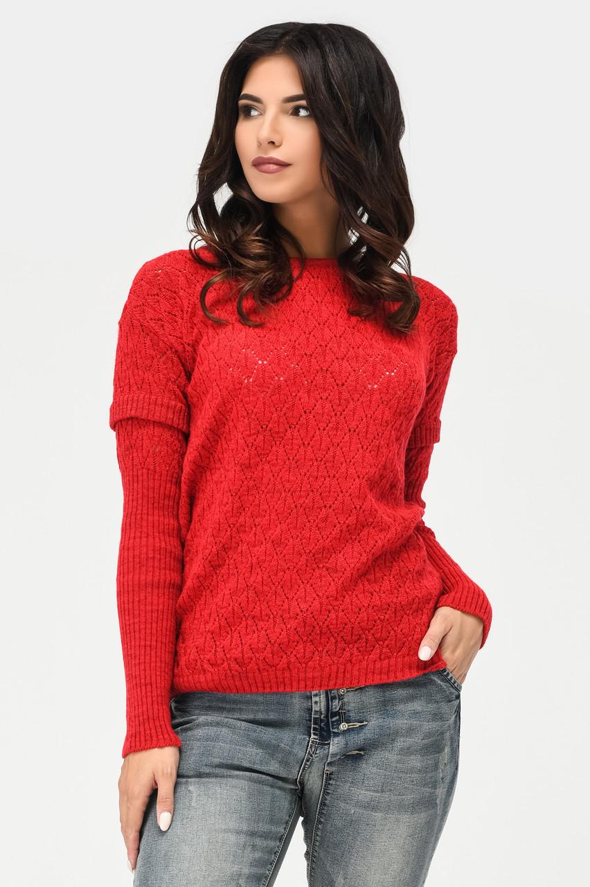 Женский вязаный джемпер красный