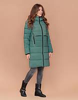 Пуховик зимний женский с капюшоном светло-зеленый