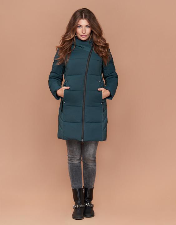 Куртка женская зимняя с капюшоном бирюза