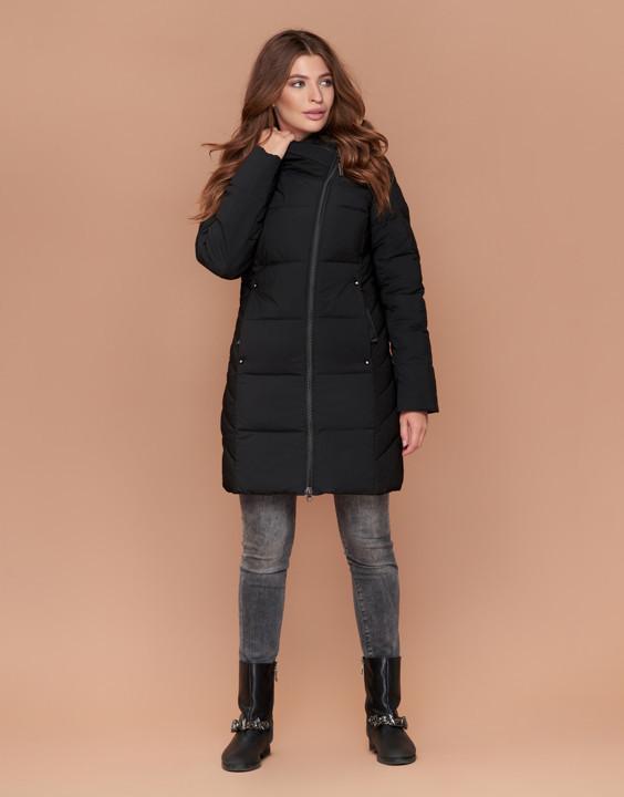Куртка женская зимняя с капюшоном черная