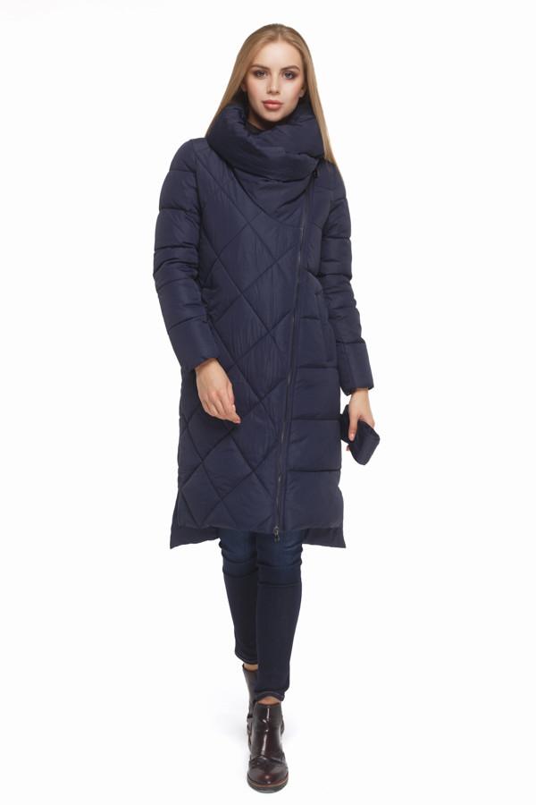 Женская стильная зимняя куртка синяя
