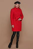 Зимнее женское пальто шерстяное красное