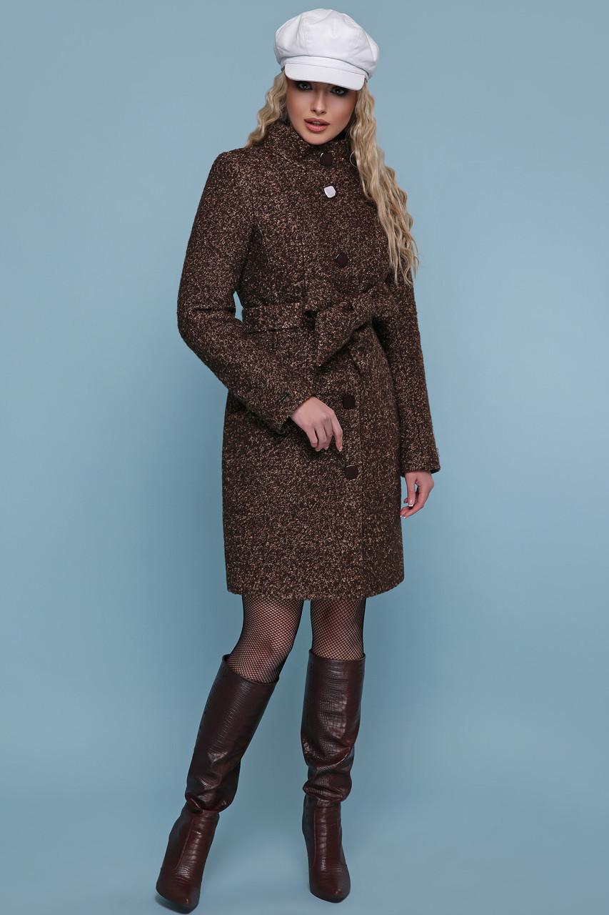 Зимнее женское пальто шерстяное коричневое