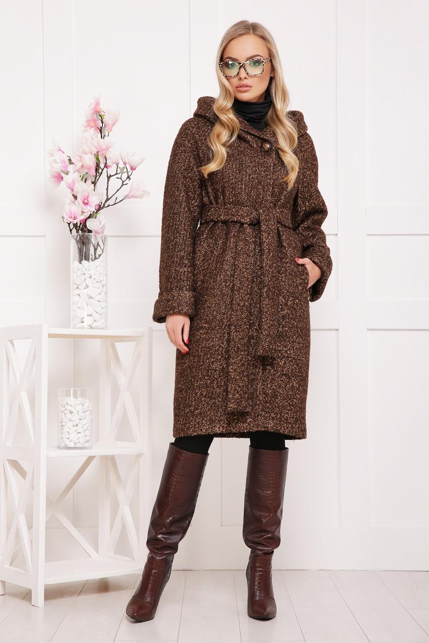 Женское зимнее пальто с капюшоном коричневое