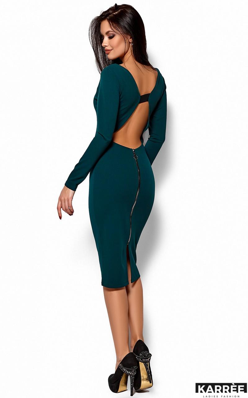 Облегающее платье с открытой спиной зеленое