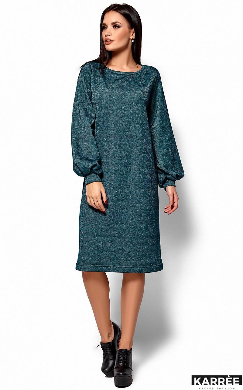 Теплое трикотажное платье оверсайз изумрудное