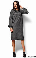 Теплое трикотажное платье оверсайз темно-серое