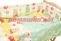 Детская постель и мягкие бортики в кроватку 120х60 см, в наборе: наволочка, простынь, пододеяльник и защита