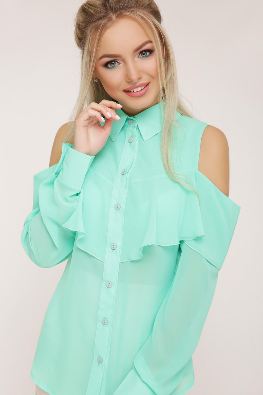 Нарядная рубашка блузка шифоновая с воланом мятная