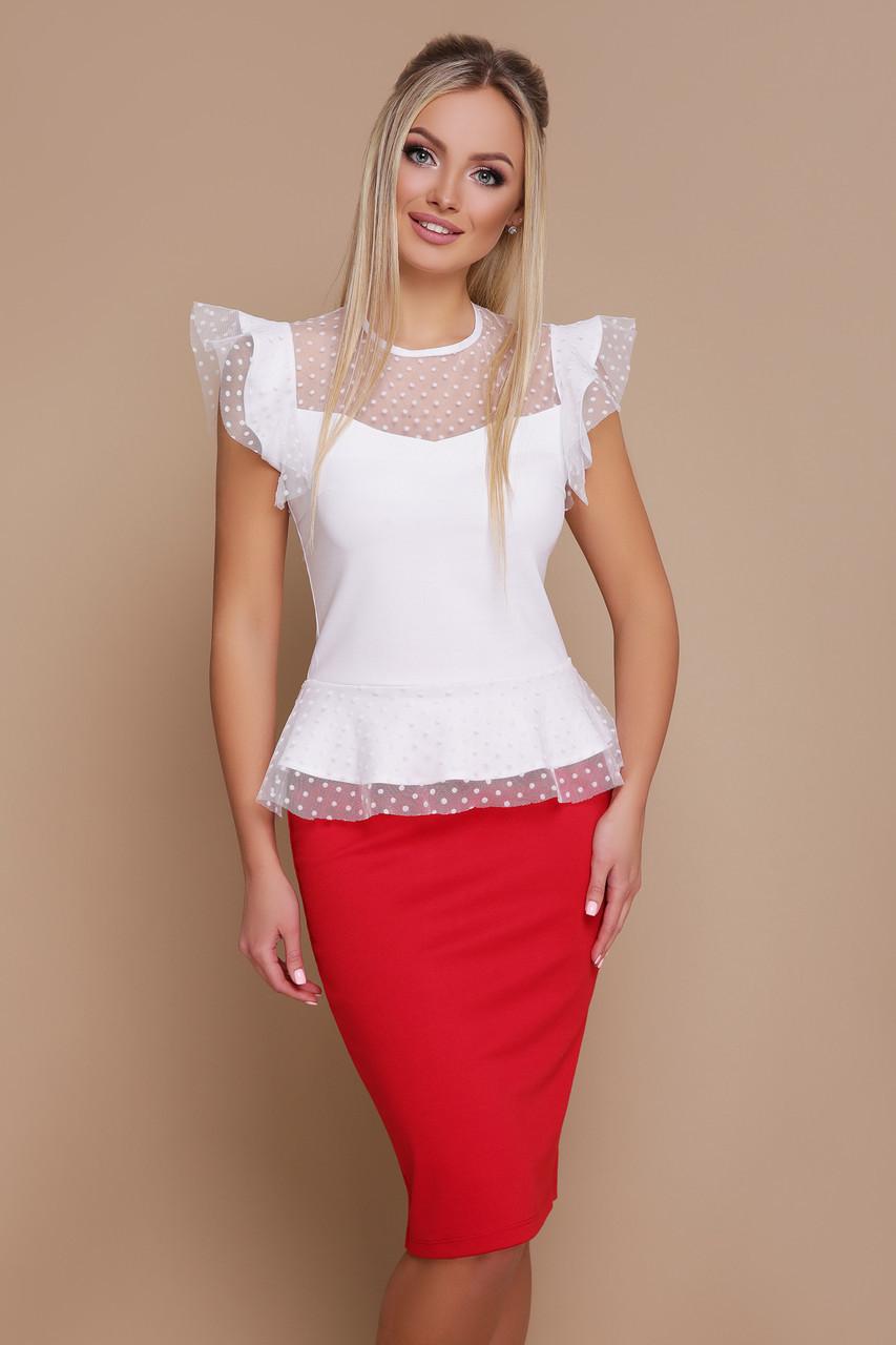 Красивая блуза с баской и сеткой в горошек белая
