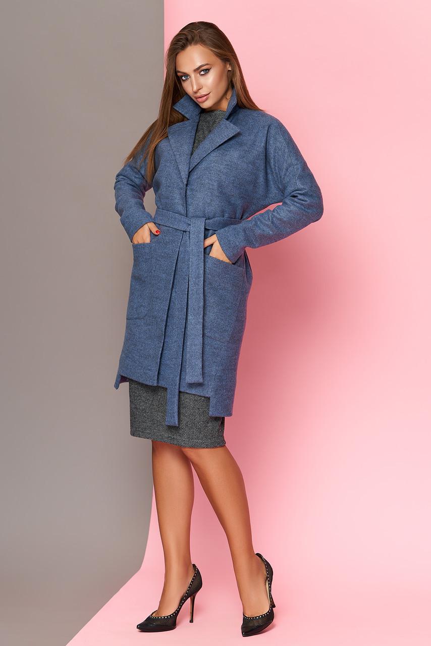 Женский кардиган-пальто модный из шерсти синий