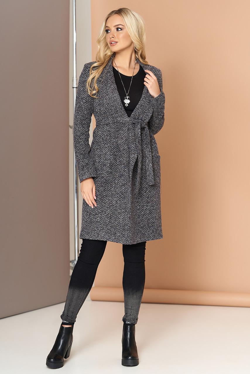 Женский кардиган-пальто с поясом темно-серый