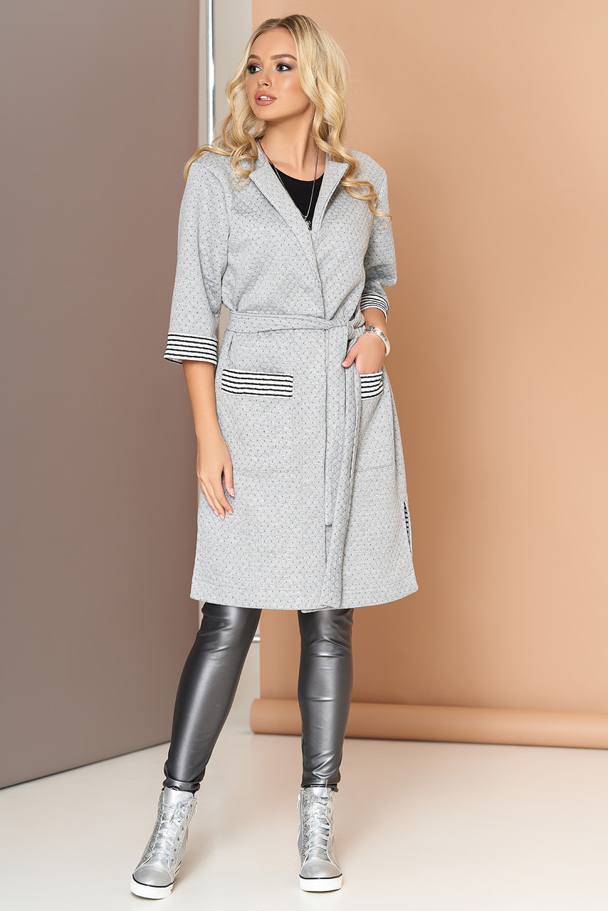 Кардиган женский длинный с поясом серый