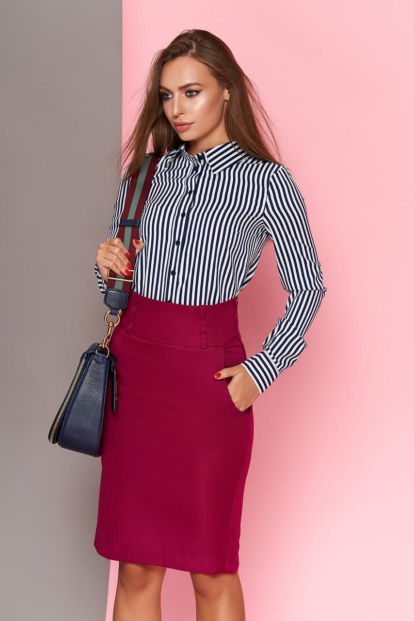 Стильная женская классическая рубашка в полоску темно-синяя