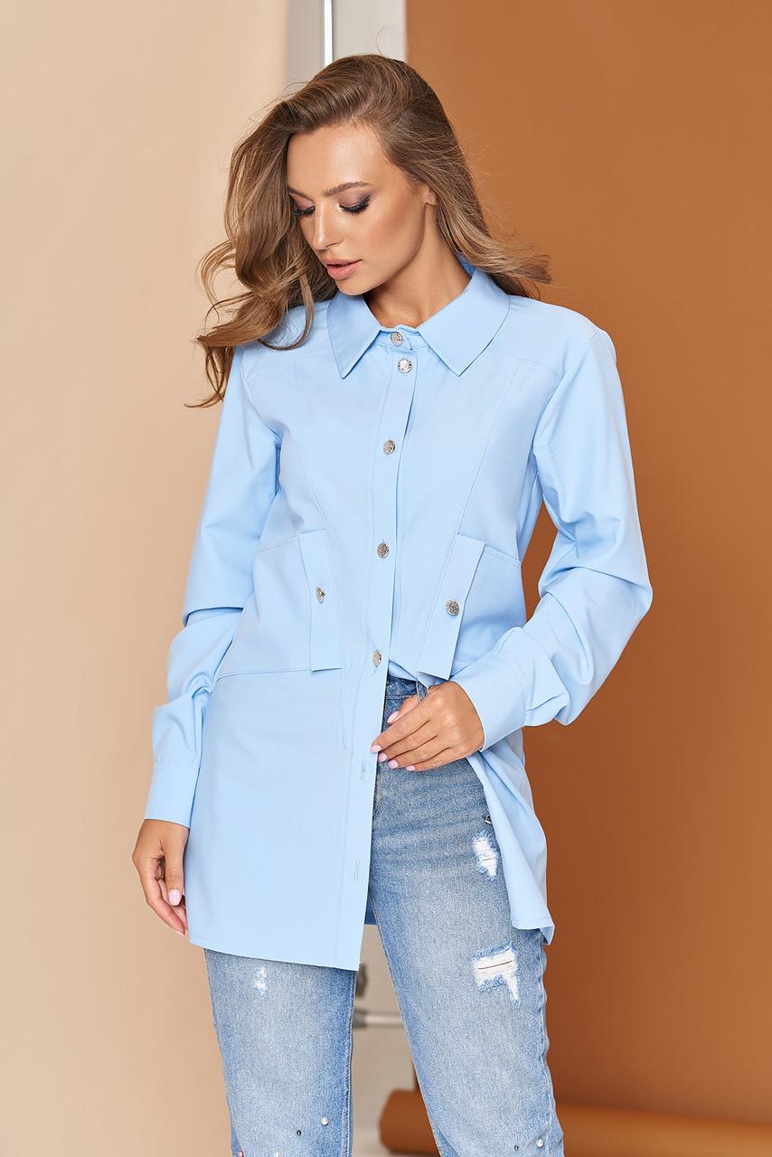 Стильная женская удлиненная рубашка туника голубая